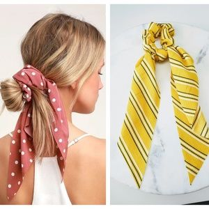 5 for $25 Yellow and White Hair Scarf Scrunchies